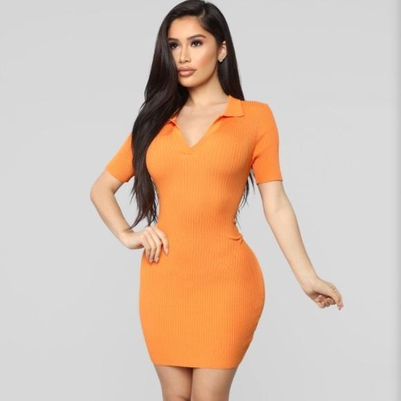 Fashion Nova Dresses & Skirts - Fashion Nova sweater collar dress - orange